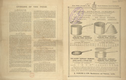 Advert for B Perkins & Son, steel saucepans